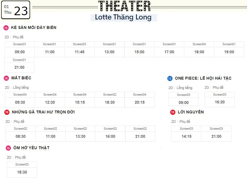 Lịch chiếu phim ngày mai (23/1) tại các rạp Lotte Hà Nội - Ảnh 4.