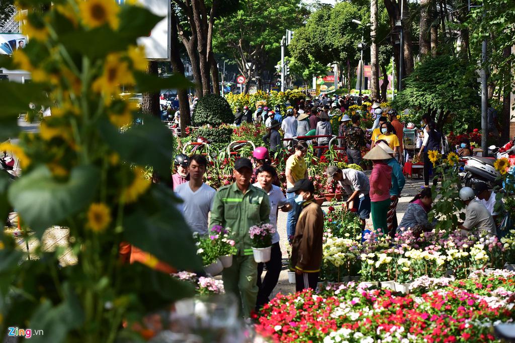 Đổ xô mua hoa Tết đại hạ giá ở trung tâm TP.HCM - Ảnh 1.