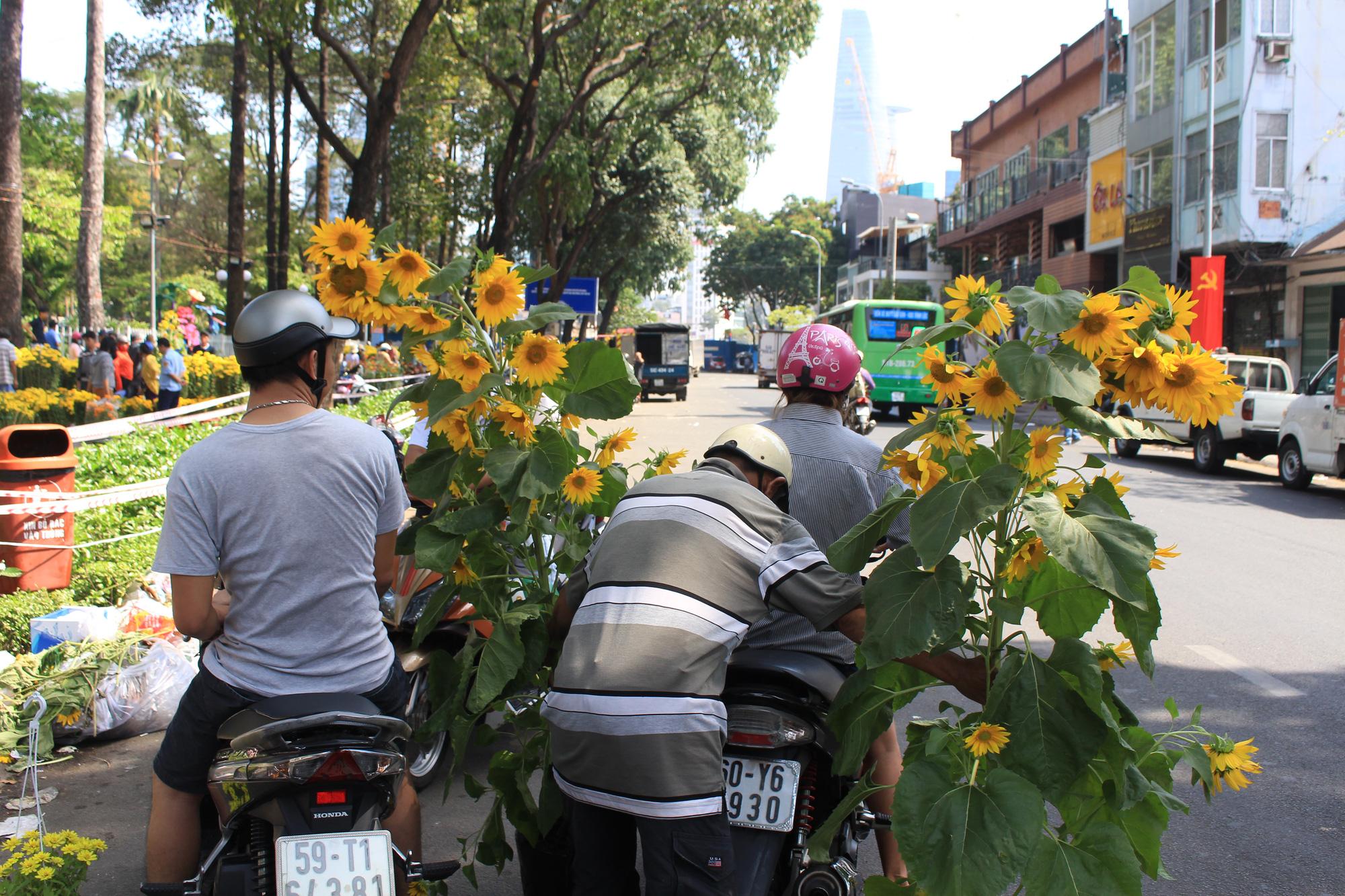 Trưa 30 Tết, mai, đào, hướng dương bán rẻ như cho 50.000 đồng một cây ở chợ hoa Sài Gòn - Ảnh 4.