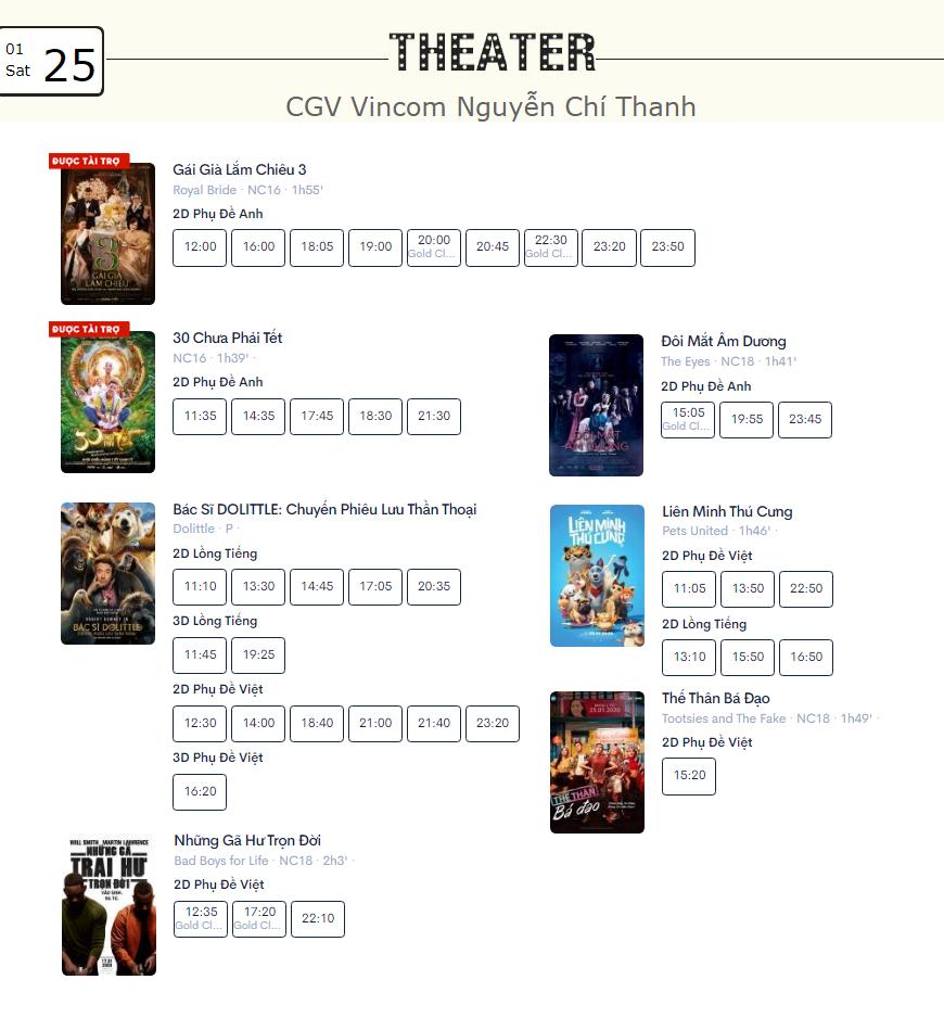 Lịch chiếu phim ngày mai (25/1) tại một số rạp CGV Hà Nội - Ảnh 5.