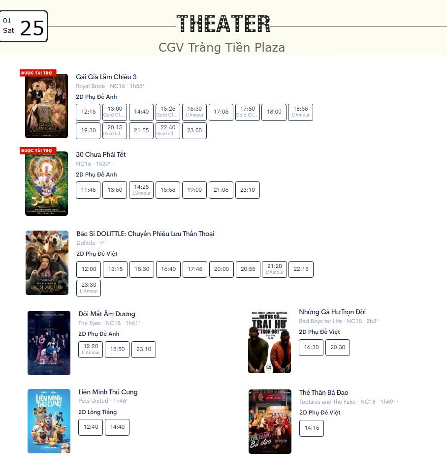 Lịch chiếu phim ngày mai (25/1) tại một số rạp CGV Hà Nội - Ảnh 6.