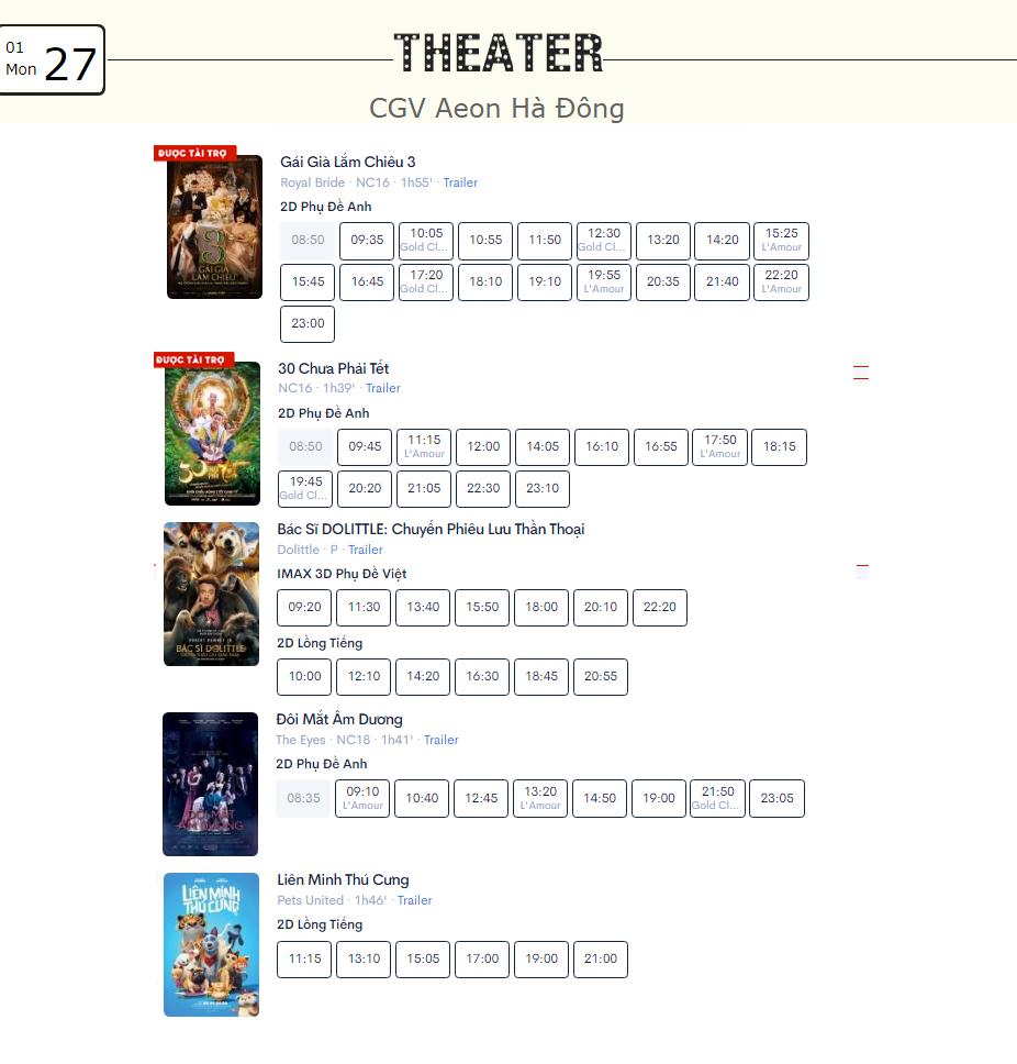 Lịch chiếu phim ngày mai (27/1) mùng 3 Tết tại một số rạp CGV Hà Nội - Ảnh 4.