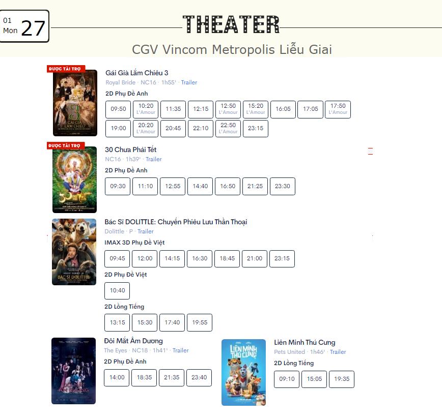 Lịch chiếu phim ngày mai (27/1) mùng 3 Tết tại một số rạp CGV Hà Nội - Ảnh 9.