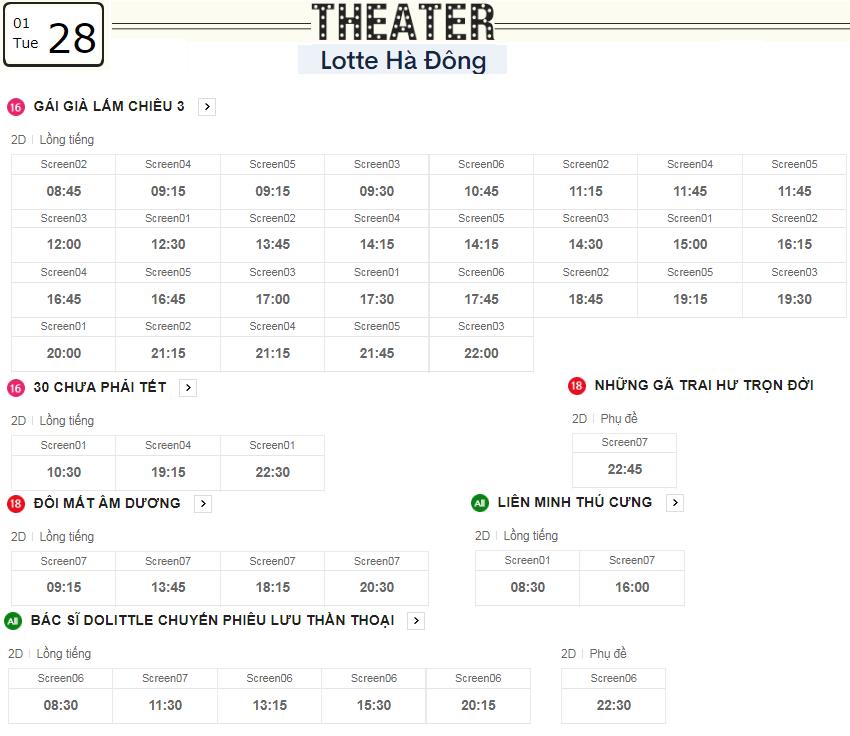 Lịch chiếu phim ngày mai (28/1) tại các rạp Lotte Hà Nội - Ảnh 2.