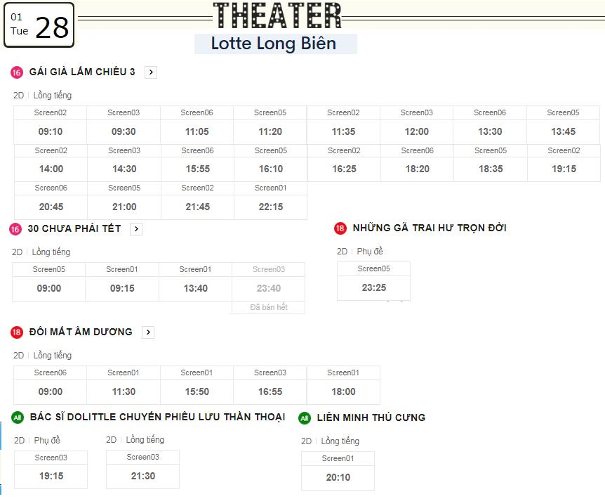 Lịch chiếu phim ngày mai (28/1) tại các rạp Lotte Hà Nội - Ảnh 4.