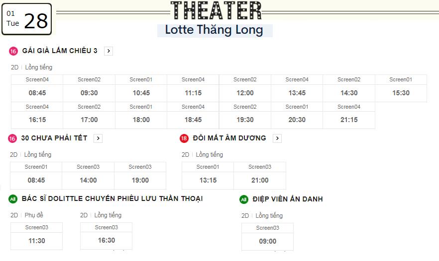 Lịch chiếu phim ngày mai (28/1) tại các rạp Lotte Hà Nội - Ảnh 3.