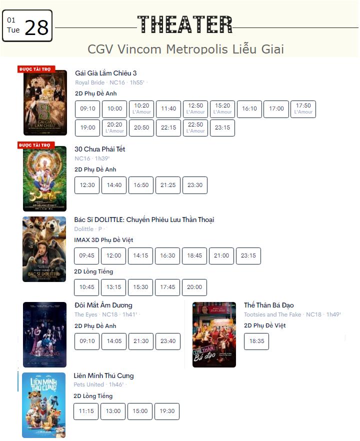 Lịch chiếu phim ngày mai (28/1) mùng 4 Tết tại một số rạp CGV Hà Nội - Ảnh 9.