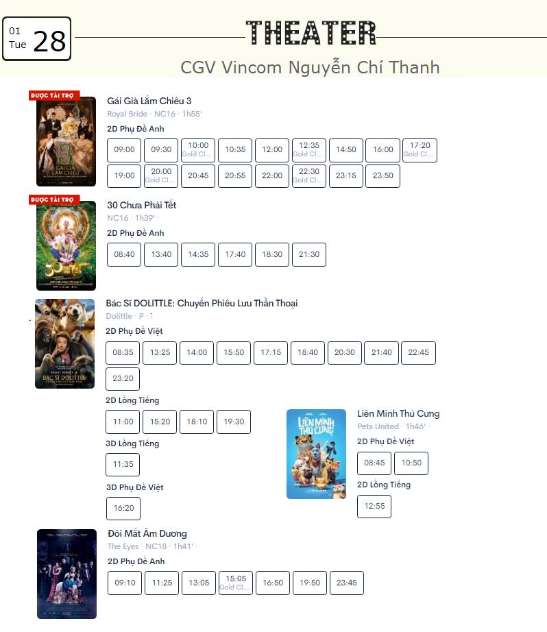 Lịch chiếu phim ngày mai (28/1) mùng 4 Tết tại một số rạp CGV Hà Nội - Ảnh 5.