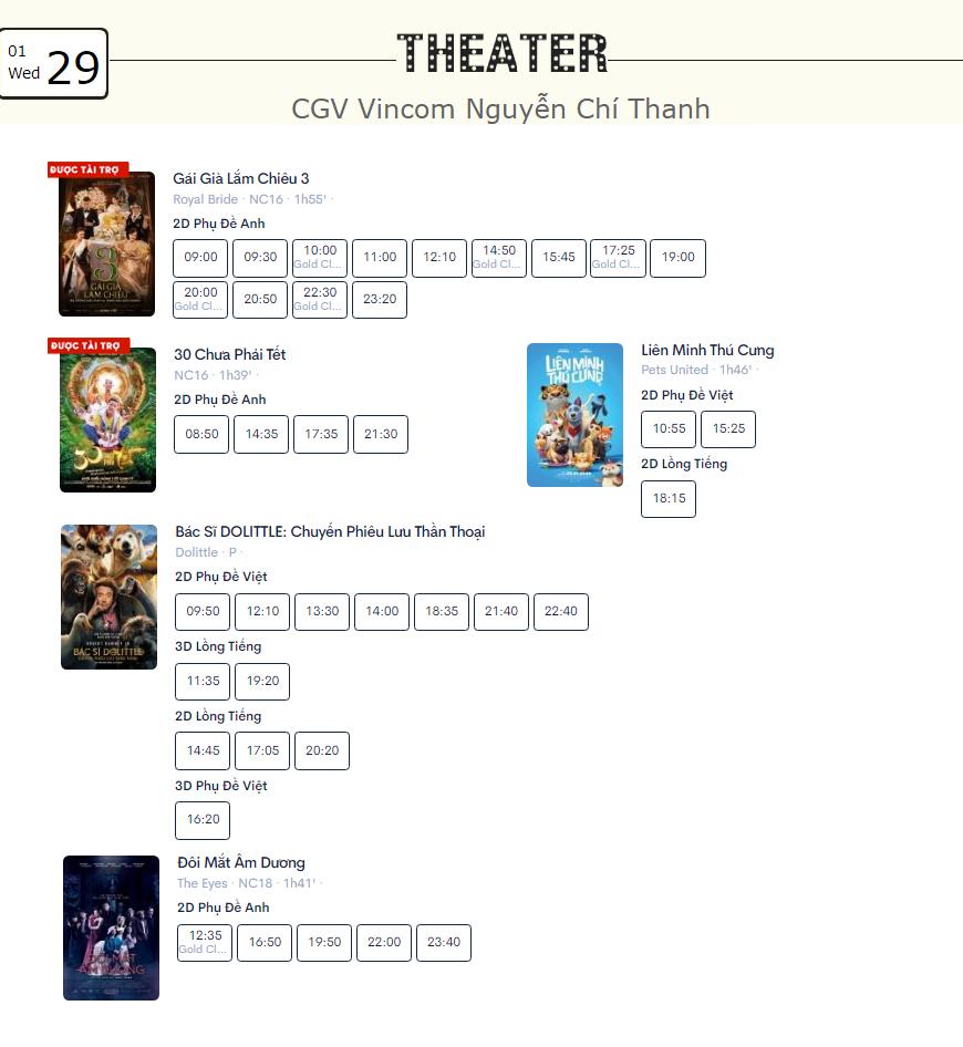 Lịch chiếu phim ngày mai (29/1) tại một số rạp CGV Hà Nội - Ảnh 5.