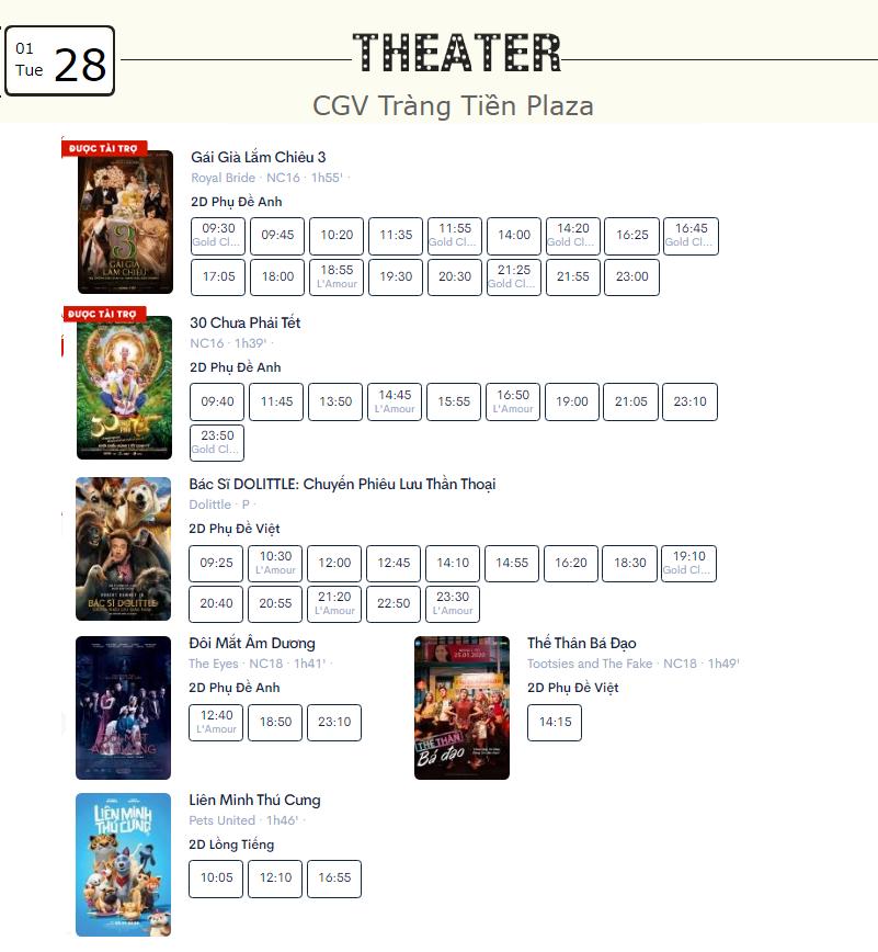 Lịch chiếu phim ngày mai (28/1) mùng 4 Tết tại một số rạp CGV Hà Nội - Ảnh 6.