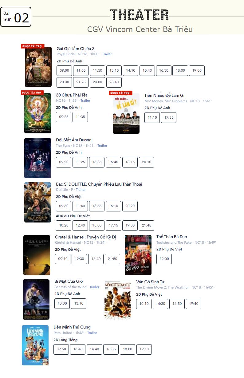 Lịch chiếu phim ngày mai (2/2) tại một số rạp CGV Hà Nội - Ảnh 2.