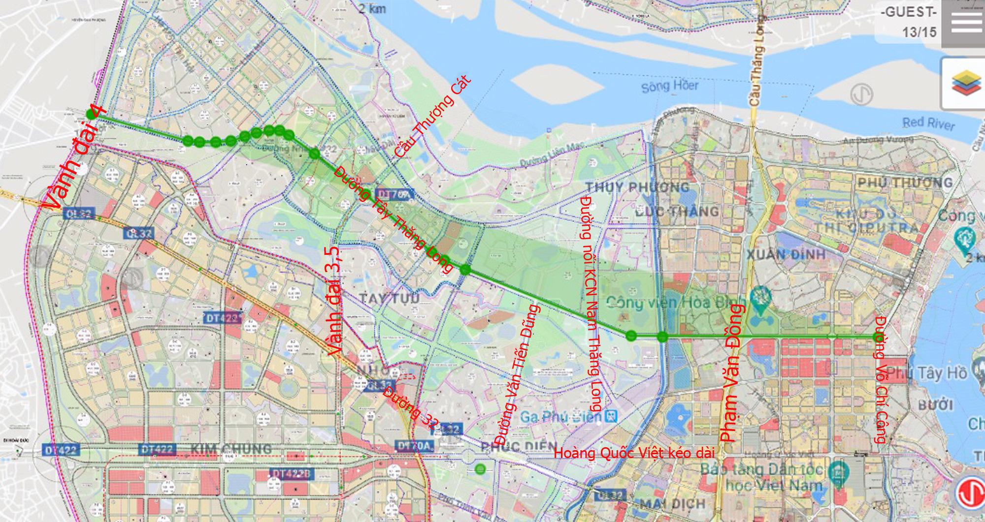 Những dự án 'đón' qui hoạch đường hướng tâm Tây Thăng Long từ Vành đai 4 đến hồ Tây - Ảnh 2.