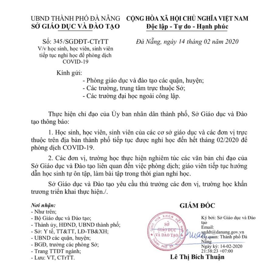 Đà Nẵng cho học sinh nghỉ hết tháng 2 để phòng dịch Covid-19 - Ảnh 1.