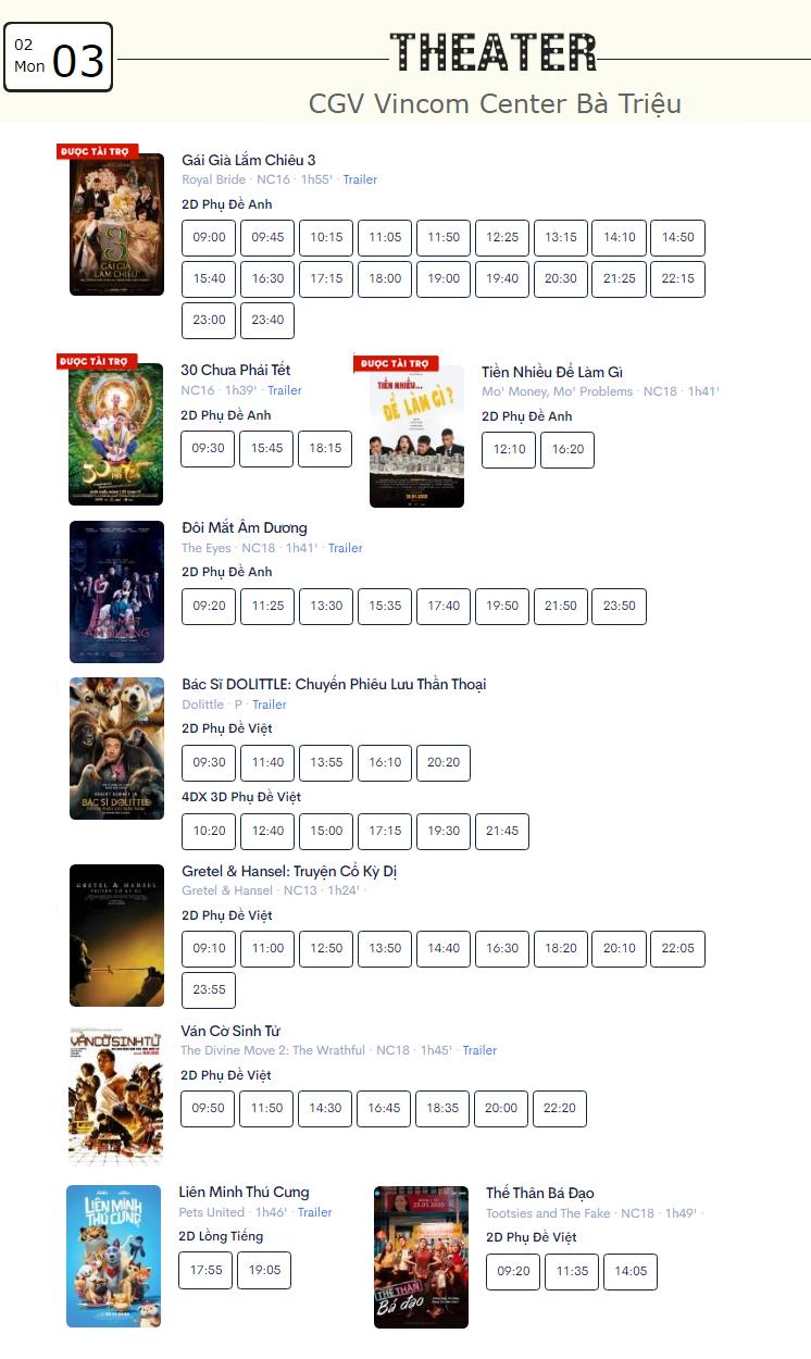 Lịch chiếu phim ngày mai (3/2) tại một số rạp CGV Hà Nội - Ảnh 2.