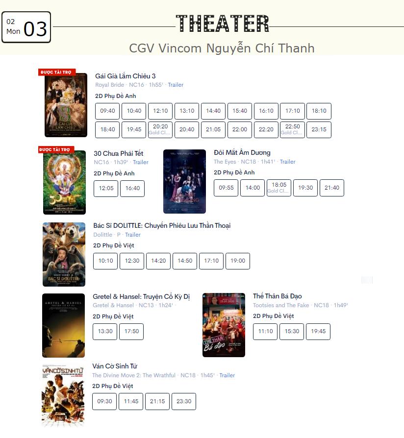 Lịch chiếu phim ngày mai (3/2) tại một số rạp CGV Hà Nội - Ảnh 5.