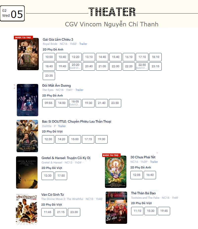 Lịch chiếu phim ngày mai (5/2) tại một số rạp CGV Hà Nội - Ảnh 5.