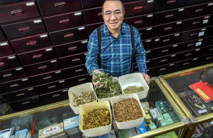 Thầy thuốc Lin Tzi Chiang bốc thuốc trong tiệm thuốc ở quận Footscray, thành phố Melbourne. Ông có hai tiệm thuốc ở thành phố. Ảnh: The Sydney Morning Herald.