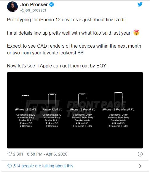 """Thêm thông tin cho thấy iPhone 12 sẽ có nhiều """"thành viên"""" nhất - Ảnh 1."""