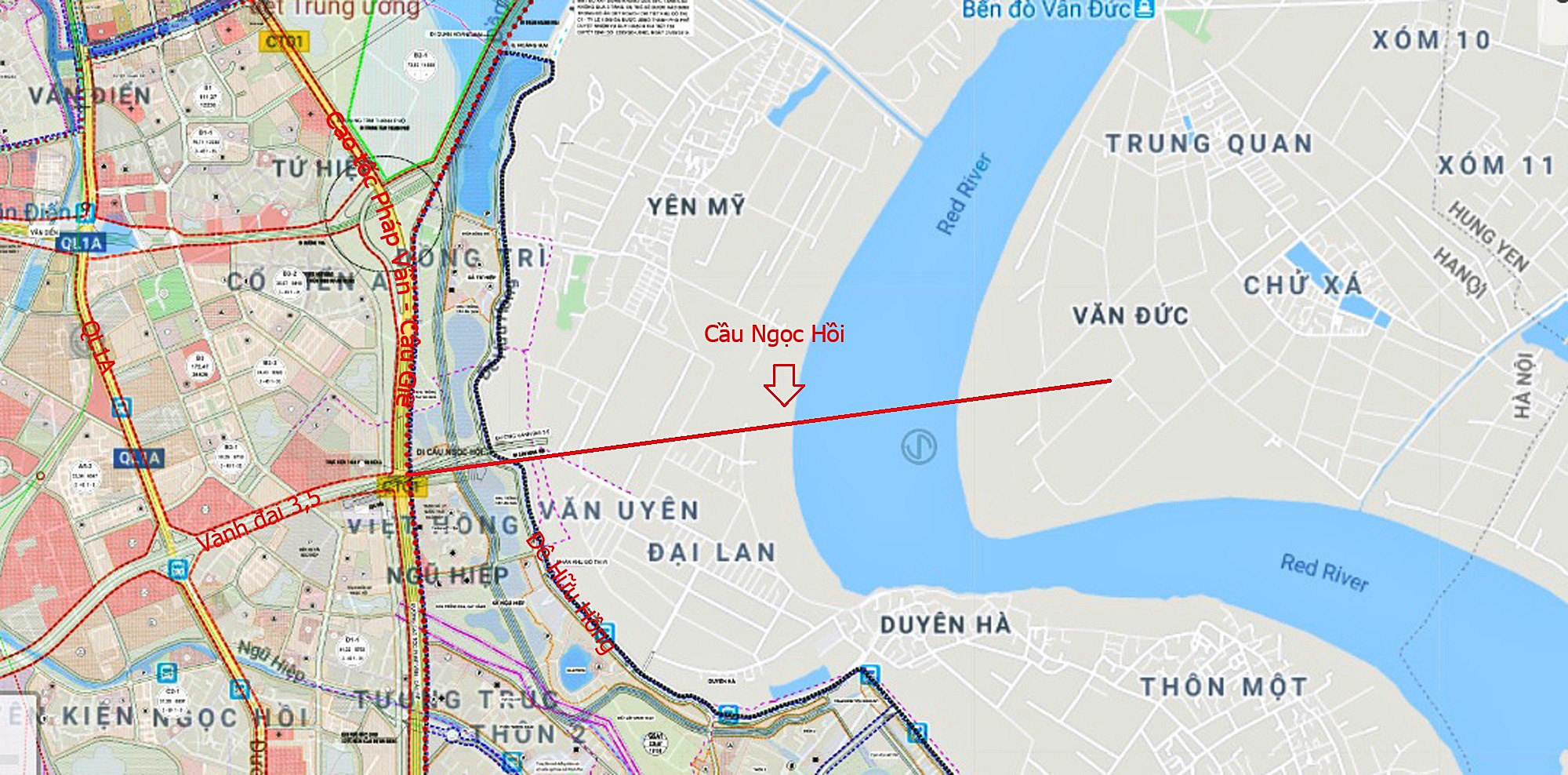 Cầu sẽ mở theo qui hoạch ở Hà Nội: Toàn cảnh cầu Ngọc Hồi nối Hà Nội với Hưng Yên - Ảnh 2.