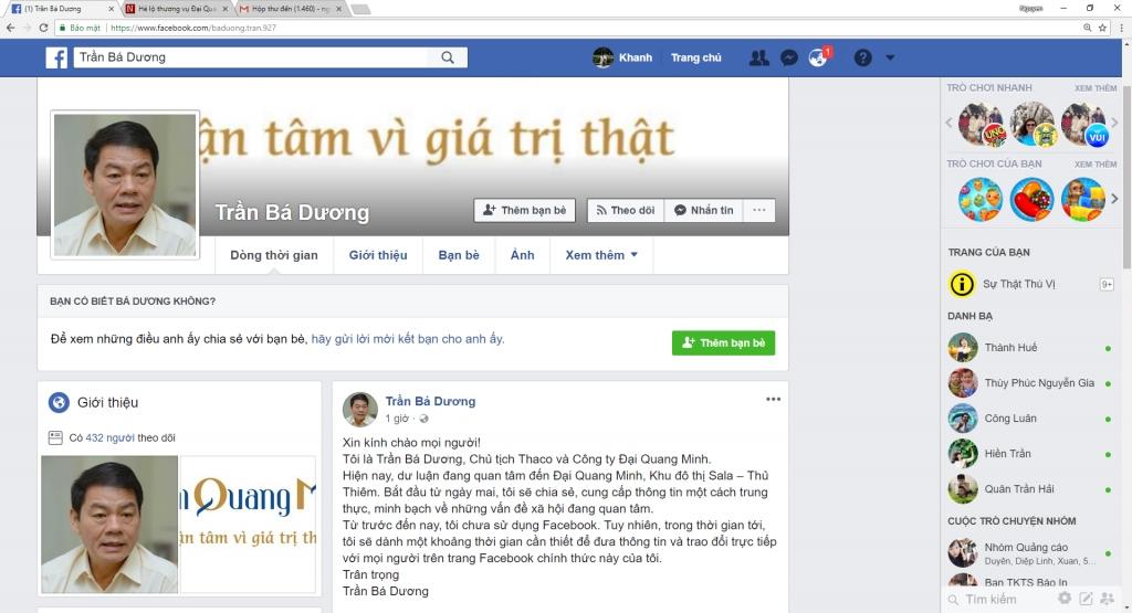 facebook cua ong tran ba duong bi danh sap sau khi lap 90 phut