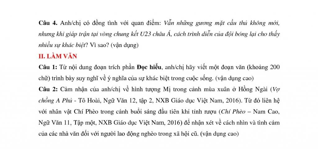 dap an de thi thu thpt quoc gia 2018 lan 3 mon van thpt chuyen thai binh
