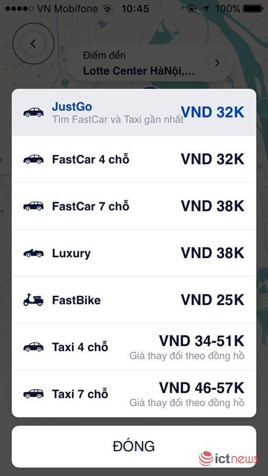 fastgo bat tay 35 hang taxi truyen thong ra tinh nang justgo
