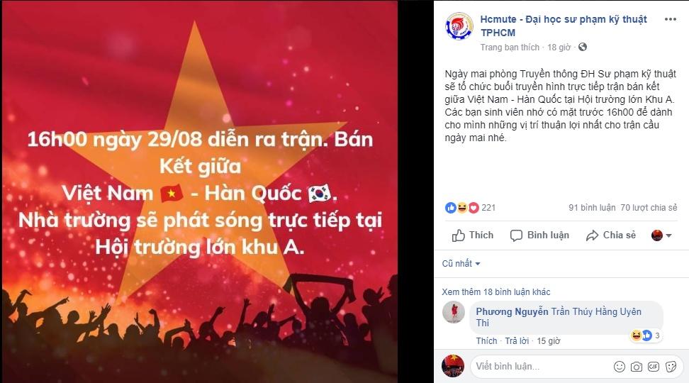 hang loat dai hoc tai tp hcm cho sinh vien xem tran u23 viet nam vs u23 han quoc