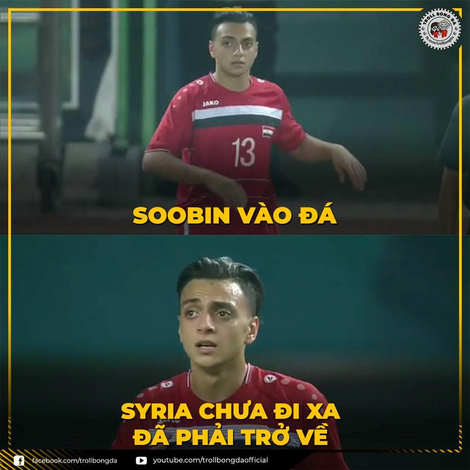 Được tung vào sân ở phút thứ 73, cầu thủ mang áo số 13 được nhiều khán giả chú ý vì có vẻ ngoài giống ca sĩ Soobin Hoàng Sơn. (Ảnh: Troll bóng đá)