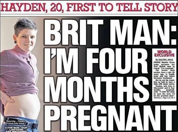 nguoi dan ong dau tien cua anh mang thai va sinh con