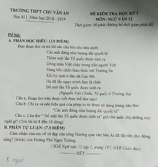 de thi hoc ki 1 lop 12 mon ngu van thpt chu van an nam hoc 2018 2019
